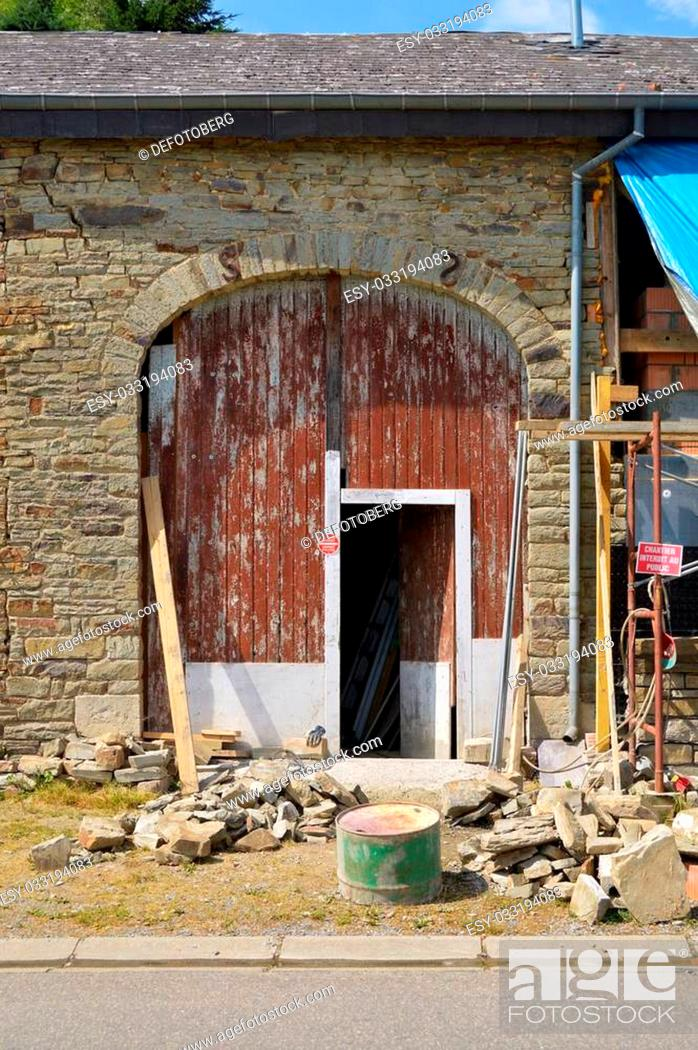 Stock Photo: Rebuilding of a barn in the Belgian Ardennes.