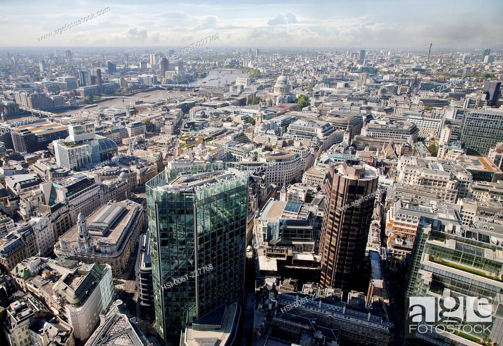 Stock Photo: United Kingdom. England. City of London. High, panoramic viewpoint.