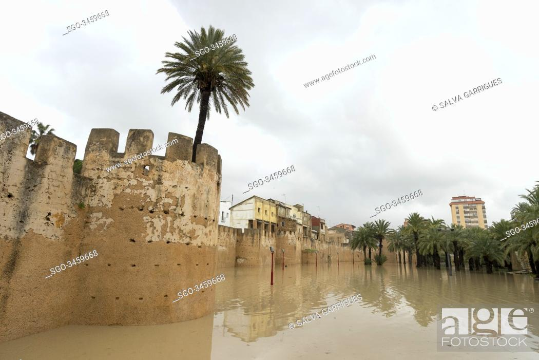 Stock Photo: 270/5000.Alberic, Valencia, Spain, January 21, 2020. Former channel of the Jucar de Alzira river, converted into a park now.