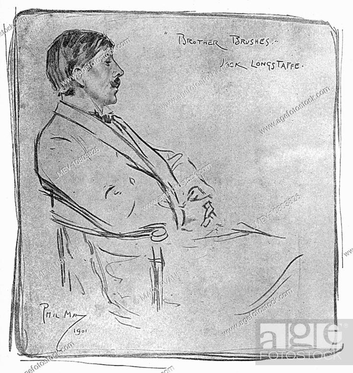 Stock Photo: 'Brother Brushes' - Portrait drawing by Phil May of Sir John Longstaff (1862-1941) - Australian Artist, painter, war artist and a five-time winner of the.