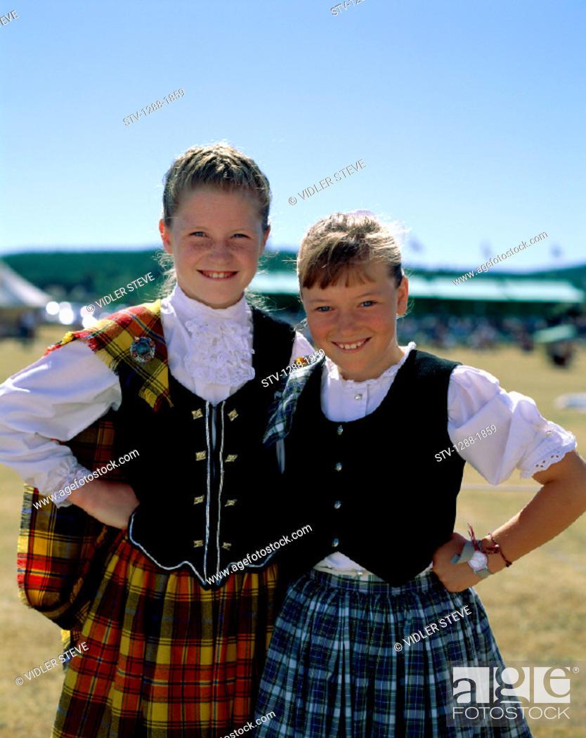 Stock Photo: Costumes, Europe, European, Girls, Holiday, Landmark, Outdoors, People, Pose, Posing, Scotland, United Kingdom, Great Britain, S.