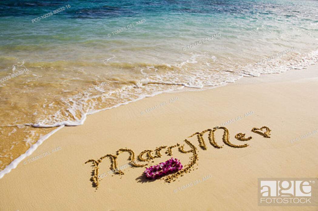 Stock Photo: Turquoise ocean, foaming shore water, orchid lei, Marry Me written in sand.