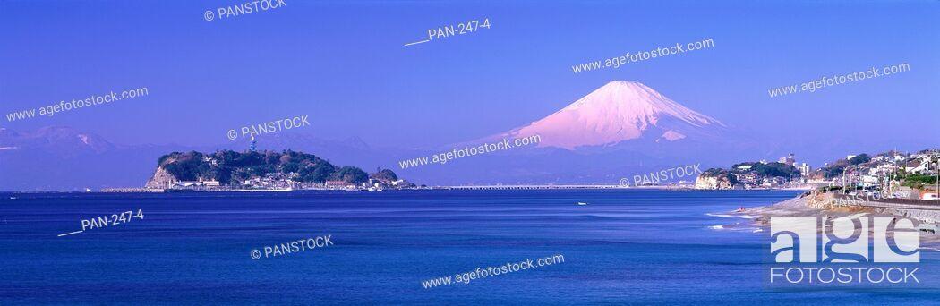 Stock Photo: Enoshima and Mt. Fuji from Cape Inamuragasaki, Kamakura, Kanagawa, Japan.