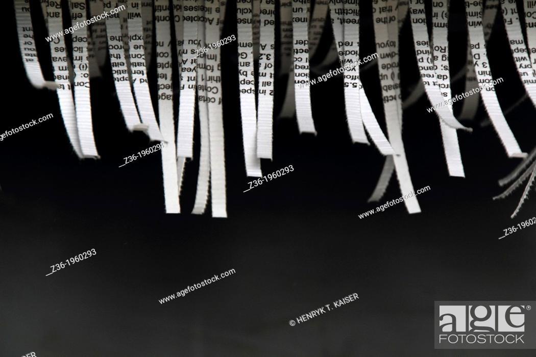 Stock Photo: Document shredded by shredder.