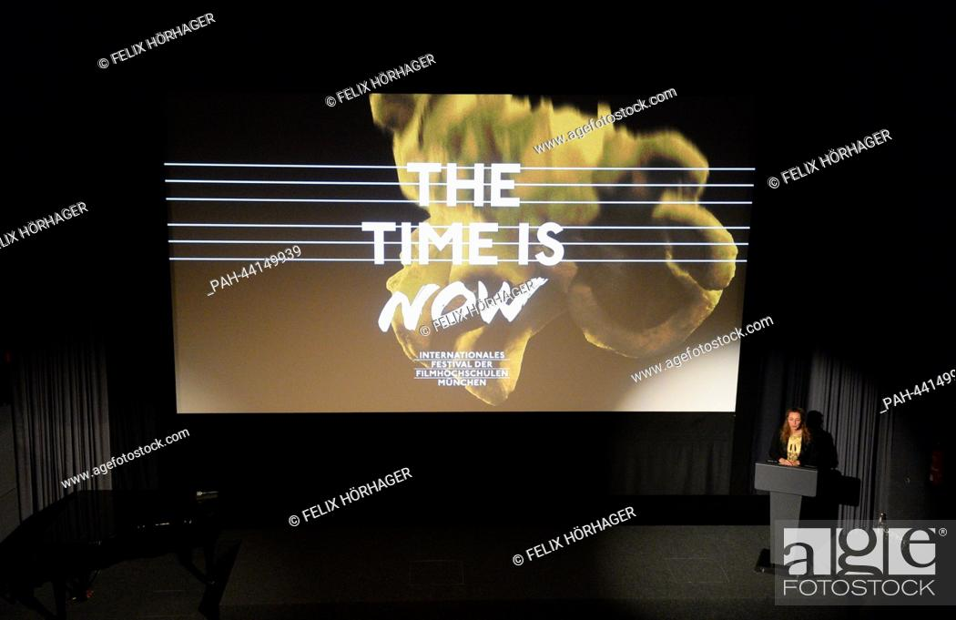 The festival director Diana Iljine delivers a speech at the