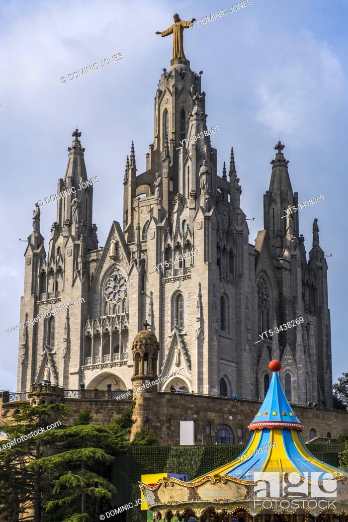 Stock Photo: The Temple of the Sacred Heart of Jesus at Tibidabo, Barcelona, Catalonia, Spain, Europe.