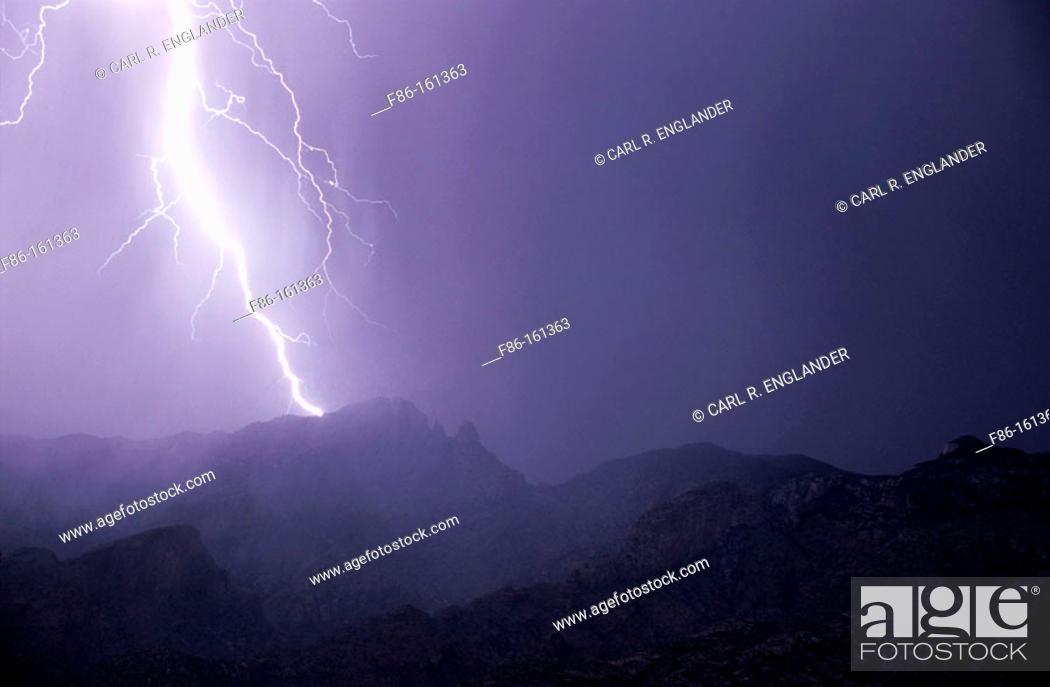 Stock Photo: Thunderstorm. Santa Catalina Mountains. Arizona. USA.