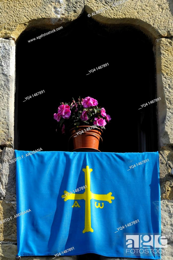 Stock Photo: Window photographed in the old town of Llanes, Asturias, Spain.