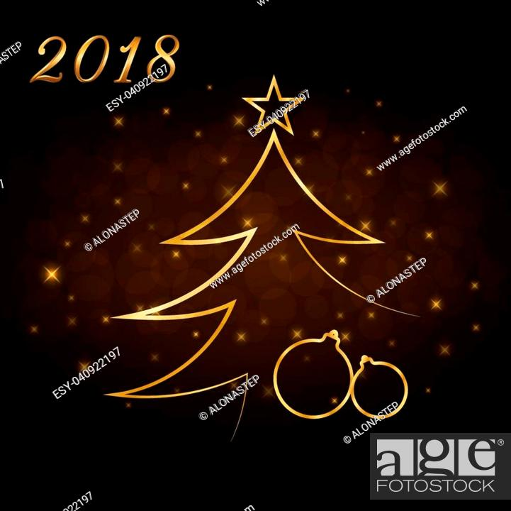 Stock Vector: Happy New Year and Merry Christmas celebration background, gold numbers 2018, Xmas balls. Decorative golden bauble, star. Sketch for card, greeting.