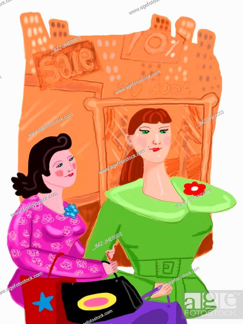 Stock Photo: two women shopping.