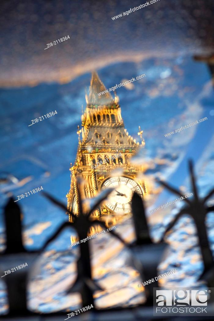 Stock Photo: Big Ben reflection, The Houses of Parliament, London, England.