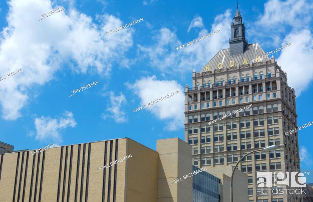Stock Photo: Rochester New York NY Kodak Films world headquarters downtown city now much smaller as film no longer being used much so many Kodak buildings now vacant or torn.