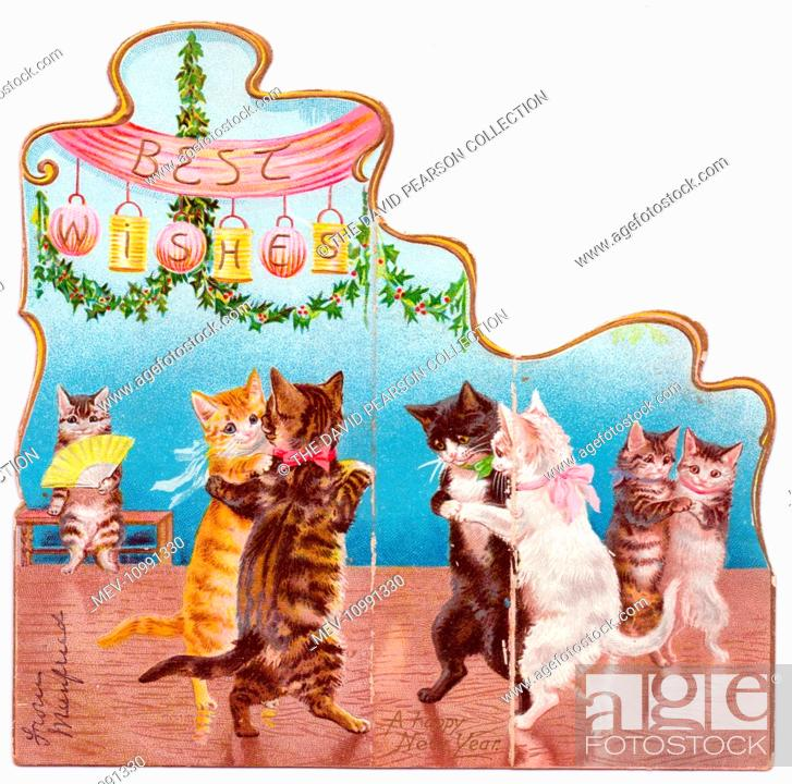 Cats dancing in pairs on a Christmas card, Stock Photo, Picture And ...