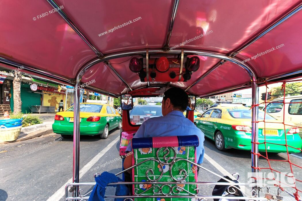 Stock Photo: Bangkok, Thailand: Interior of a Tuk Tuk, the most common mean of transportation in Bangkok.