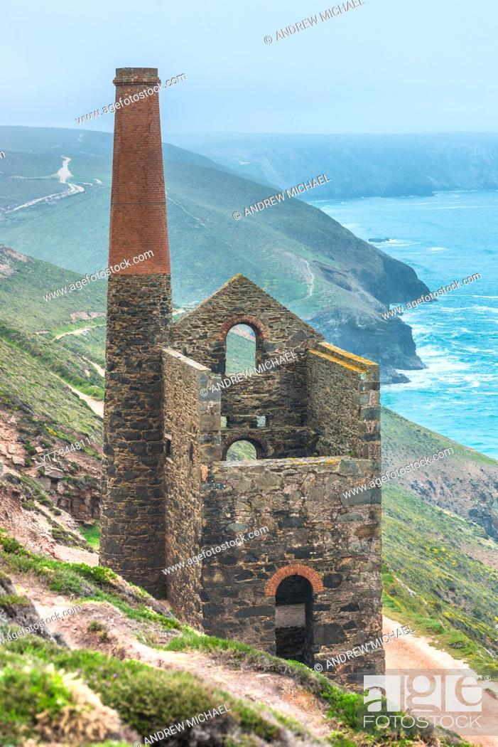 Stock Photo: Towanroath Engine House, part of Wheal Coates Tin Mine on the Cornish coast near St Agnes, Cornwall, England. UK.