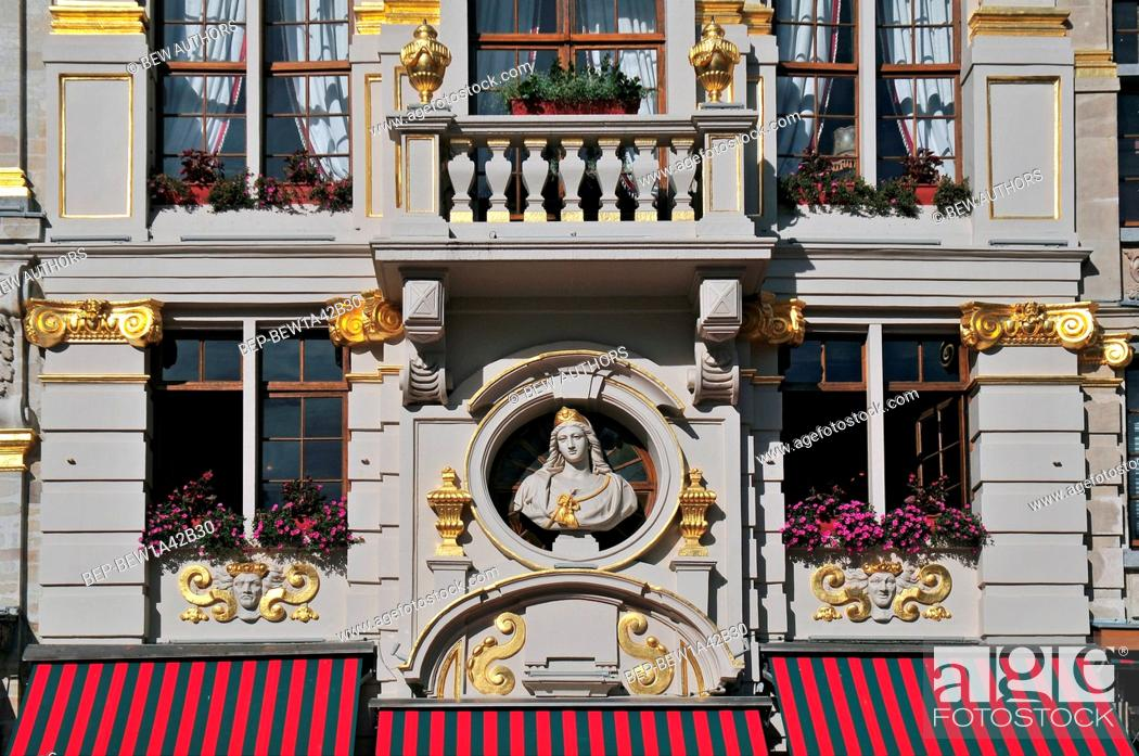 Stock Photo: Detail of the picturesque Grand Place of Brussels in Belgium.