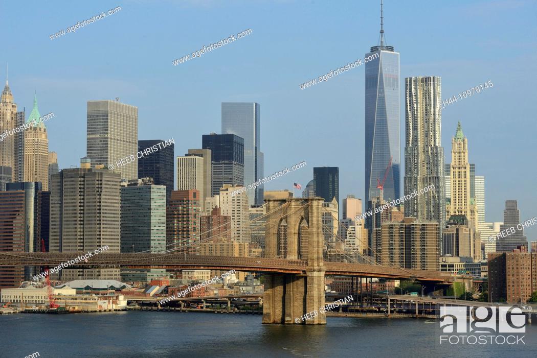 Stock Photo: USA, United States, America, New York, East river, Brooklyn Bridge, bridge, freedom tower, skyline, city.