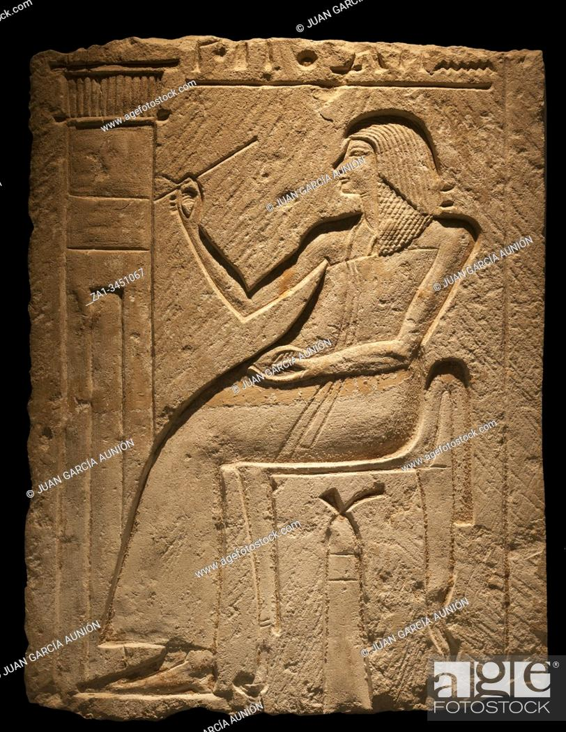 Photo de stock: Relief with a noble decorating their tomb. Museum of Ancient Egypt Culture of Barcelona, Spain.