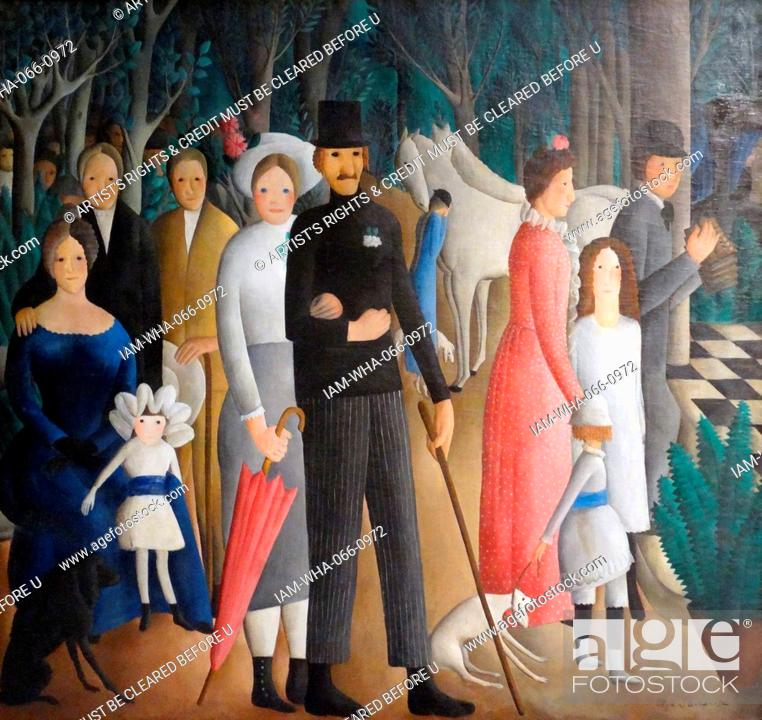 Stock Photo: Painting titled 'A Wedding' by Olga Sacharoff (1889-1967) Spanish artist with naïve art and the Surrealist movement. Dated 1923.