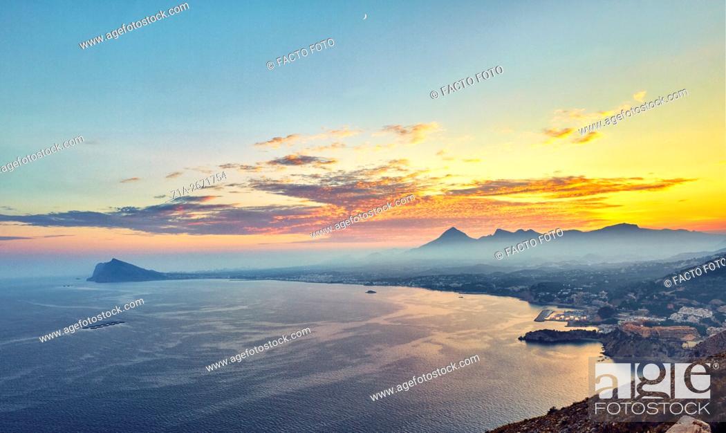 Stock Photo: Mascarat area and Sierra de Bernia y Ferrer by sunset at the Mediterranean sea. Altea. Alicante. Valencia Community. Spain.