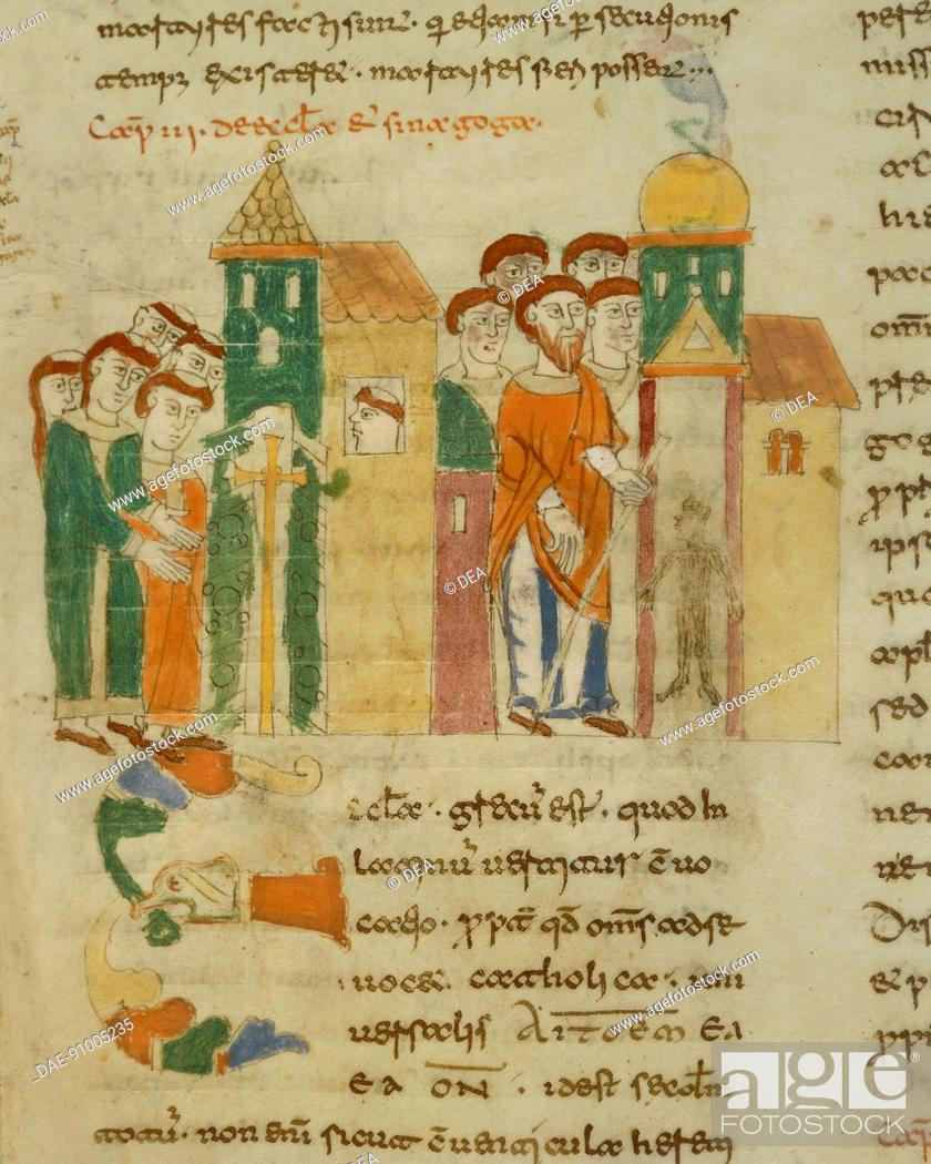 Stock Photo: The church and the Jewsih synagogue, The money changers,miniature from De universo by Rabano Mauro, manuscript, Italy 11th Century.