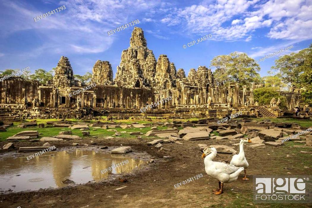 Stock Photo: Bayon temple, Angkor Wat, Cambodia, South East Asia.