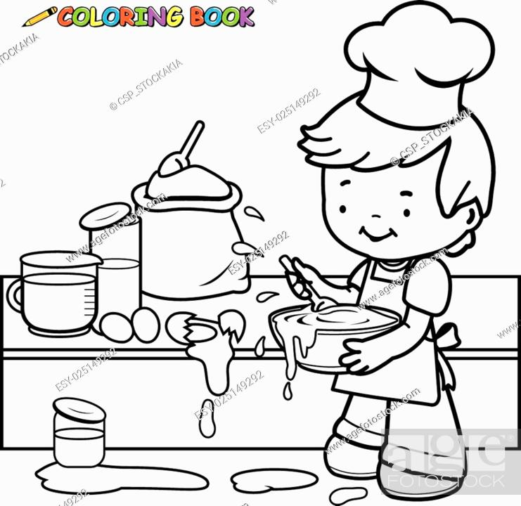Stock Vector: Boy cooking coloring book page.