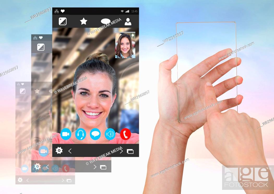 Stock Photo: Hand touching glass screen with Social Video Chat App Interface.