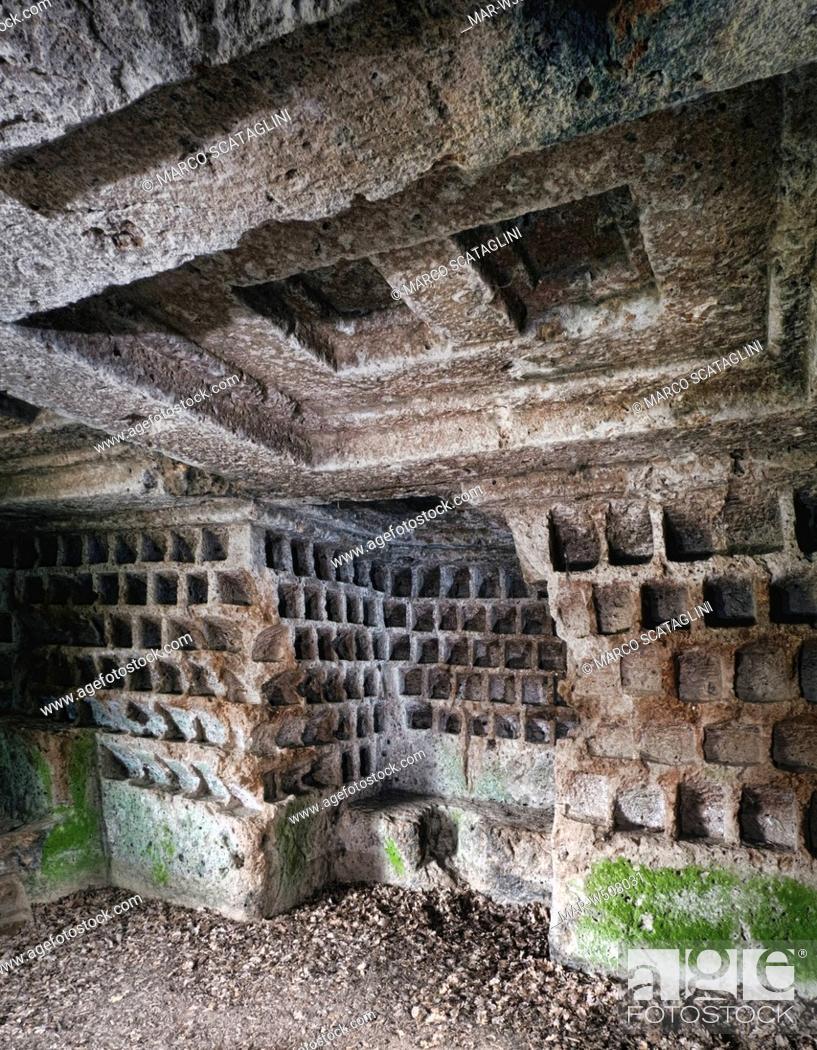 Stock Photo: tomb of the columbarium, sovana, toscana, italy.