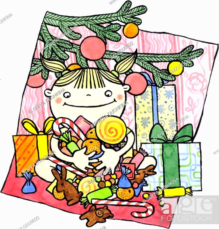 Stock Photo: A girl sitting with gifts under the Christmas tree holding an armful of candy.