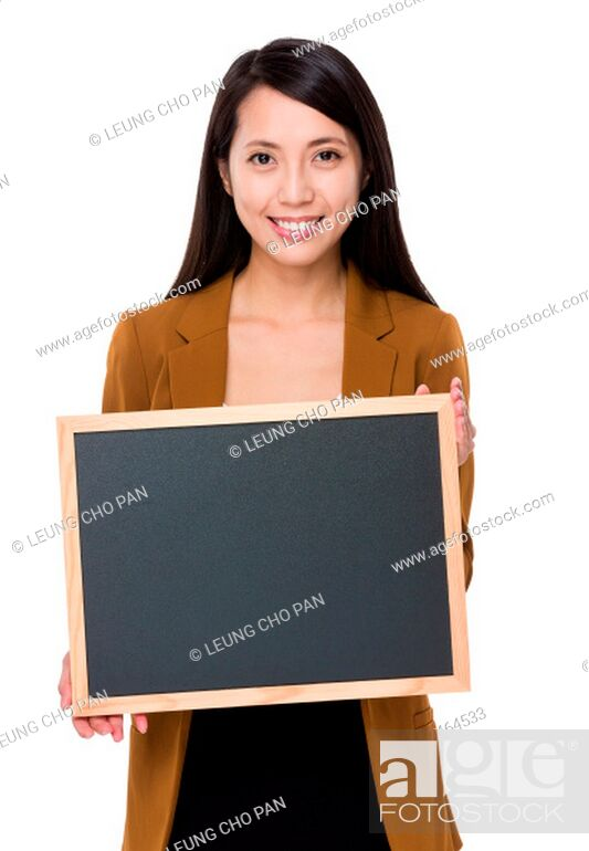Stock Photo: Asian businesswoman show with chalkboard.