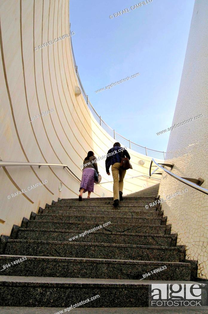 Stock Photo: Couple climbing stairs, City of Arts and Sciences by Santiago Calatrava, Valencia. Comunidad Valenciana, Spain.