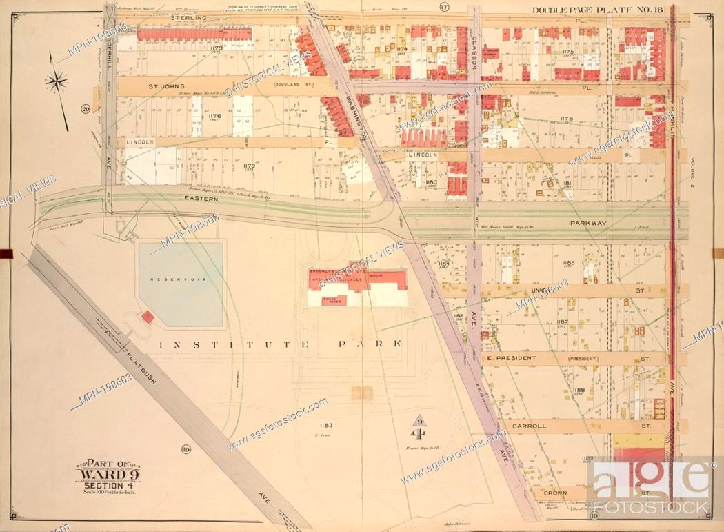 Stock Photo: Brooklyn, Vol. 1, Double Page Plate No. 18; Part of Ward 9, Section 4; [Map bounded by Sterling PL., Franklin Ave., Crown St., Washington Ave.