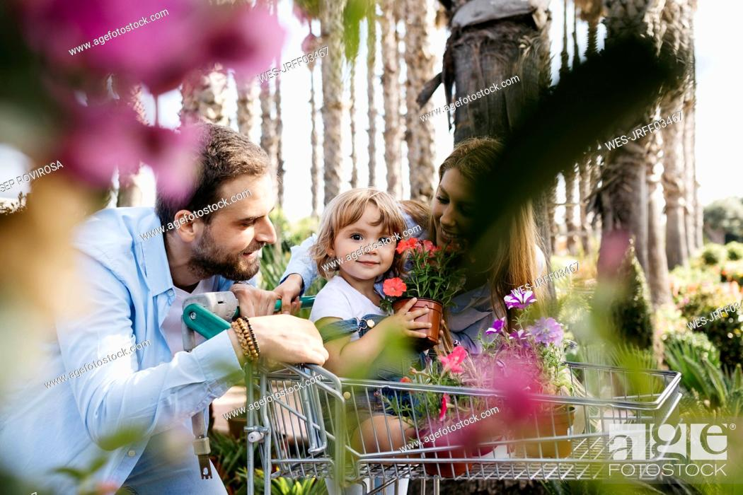 Stock Photo: Family buying plants in a garden center wth the daughter in shopping cart holding a flower.
