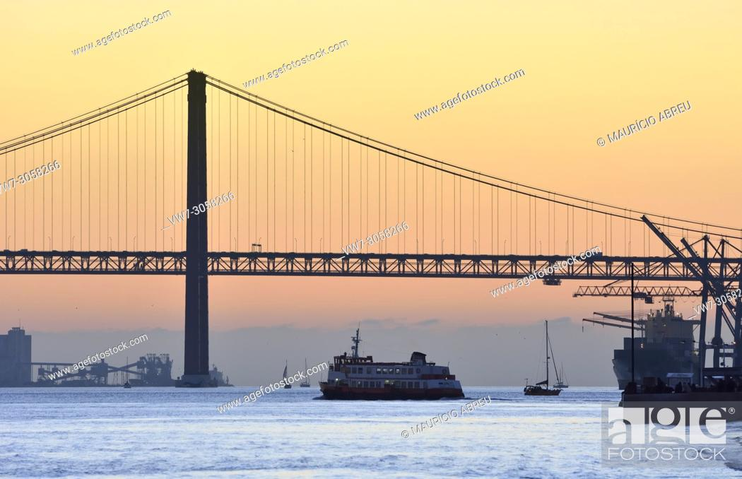 Stock Photo: The Tagus river at sunset. Lisbon, Portugal.