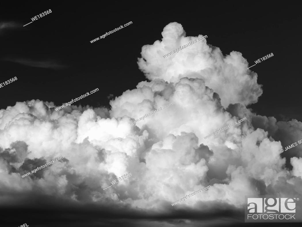 Imagen: Big Florida summer storm clouds taken as an Infrared red image and converted to a inverted black and white with false colors.