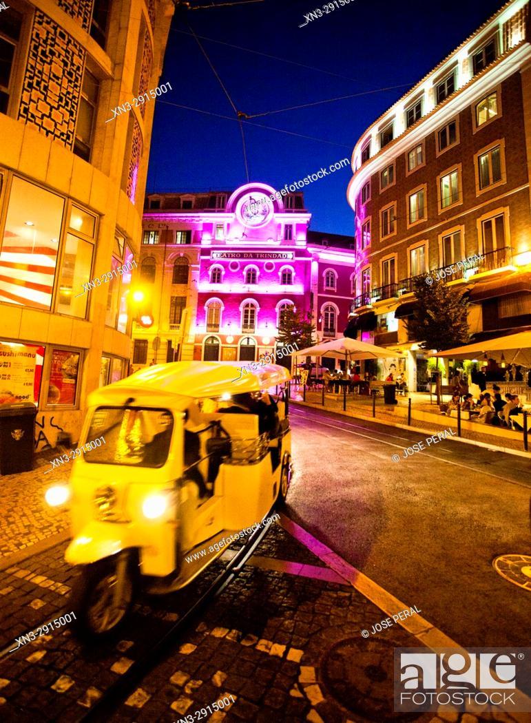 Stock Photo: Trinity Theatre, Teatro da Trinidad, Rua or Street Nova da Trindade, Lisbon, Portugal, Europe.