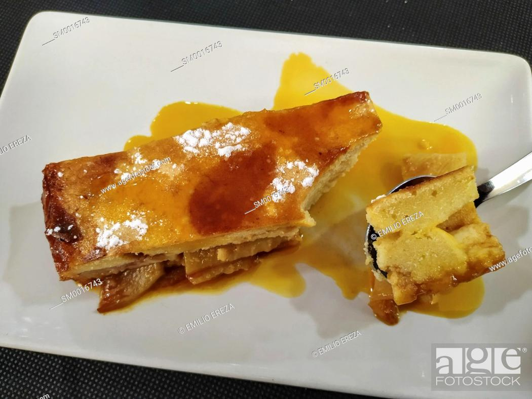 Stock Photo: Pudding of peaches at a restaurant. Borges Blanques, Lleida, Catalonia, Spain.