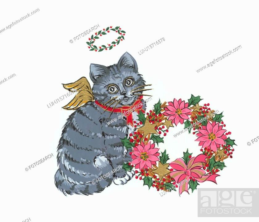 Stock Photo: Angel Cat With Wreath.