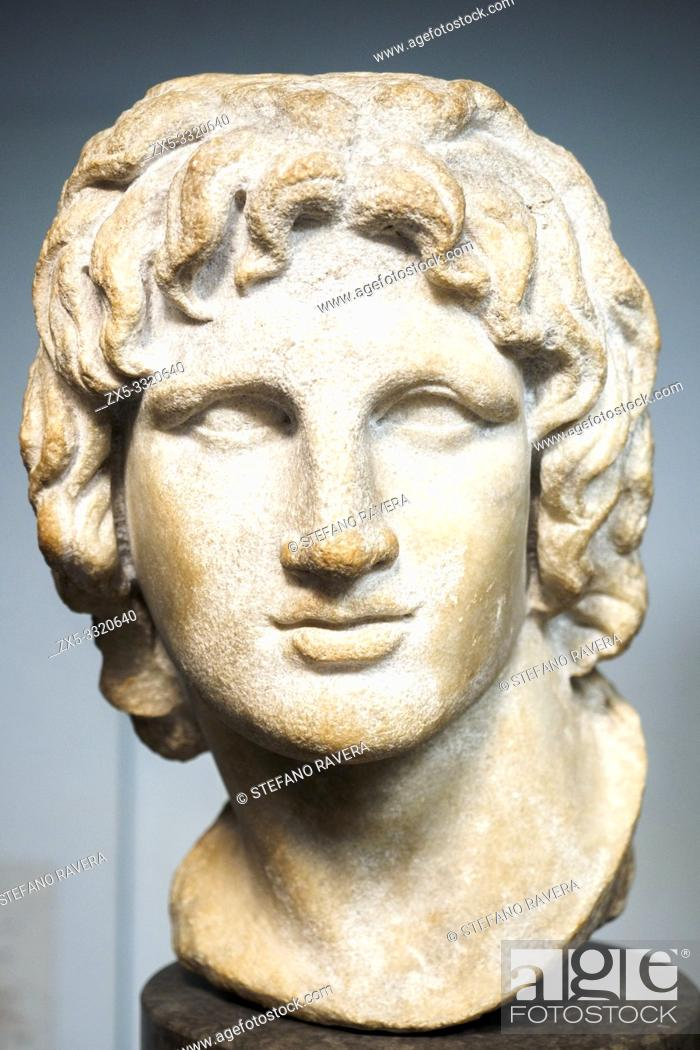 Stock Photo: Marble portrait of Alexander the Great. said to be from Alexandria. 2nd - 1st Century BC.