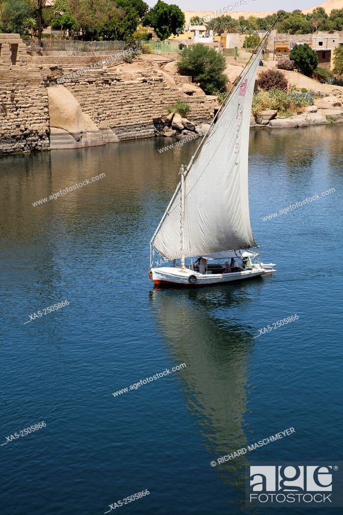 Imagen: Falucca Sailing the Nile River, Aswan, Egypt.