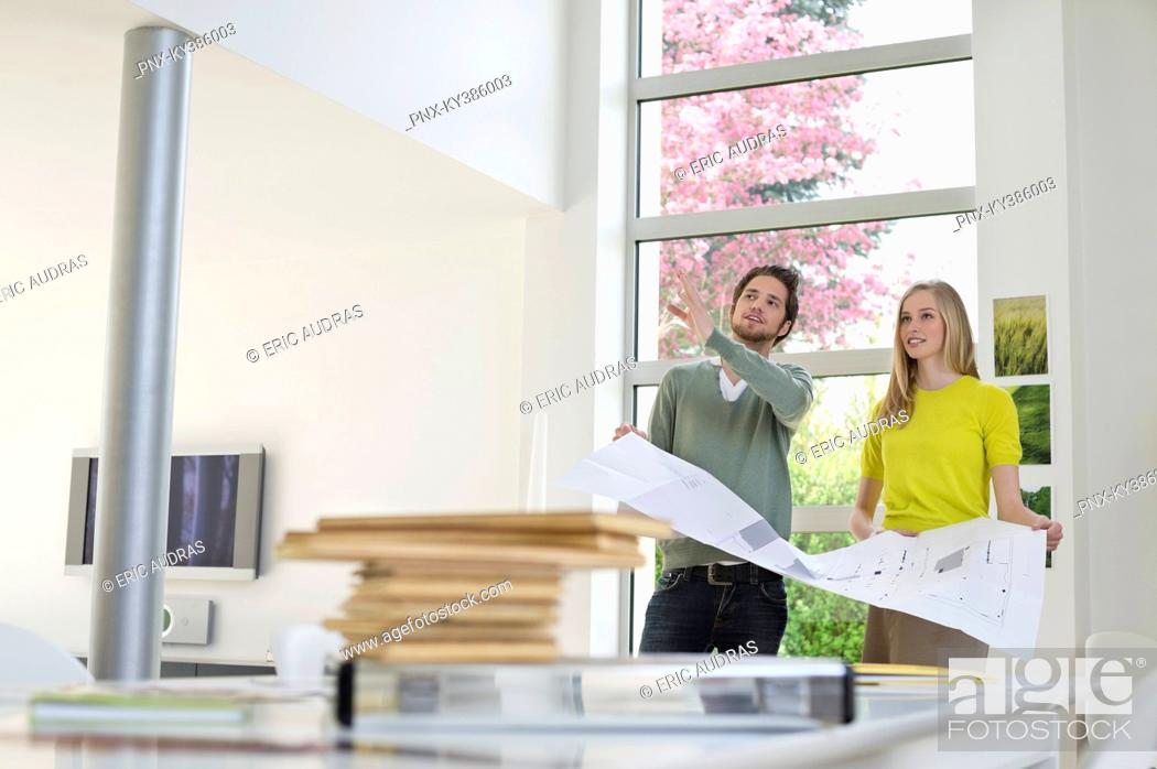 Stock Photo: Interior designer discussing plan with a woman.