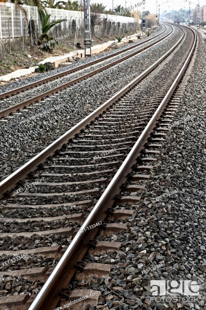 Stock Photo: train tracks, Altafulla, Tarragona, Catalonia, Spain.