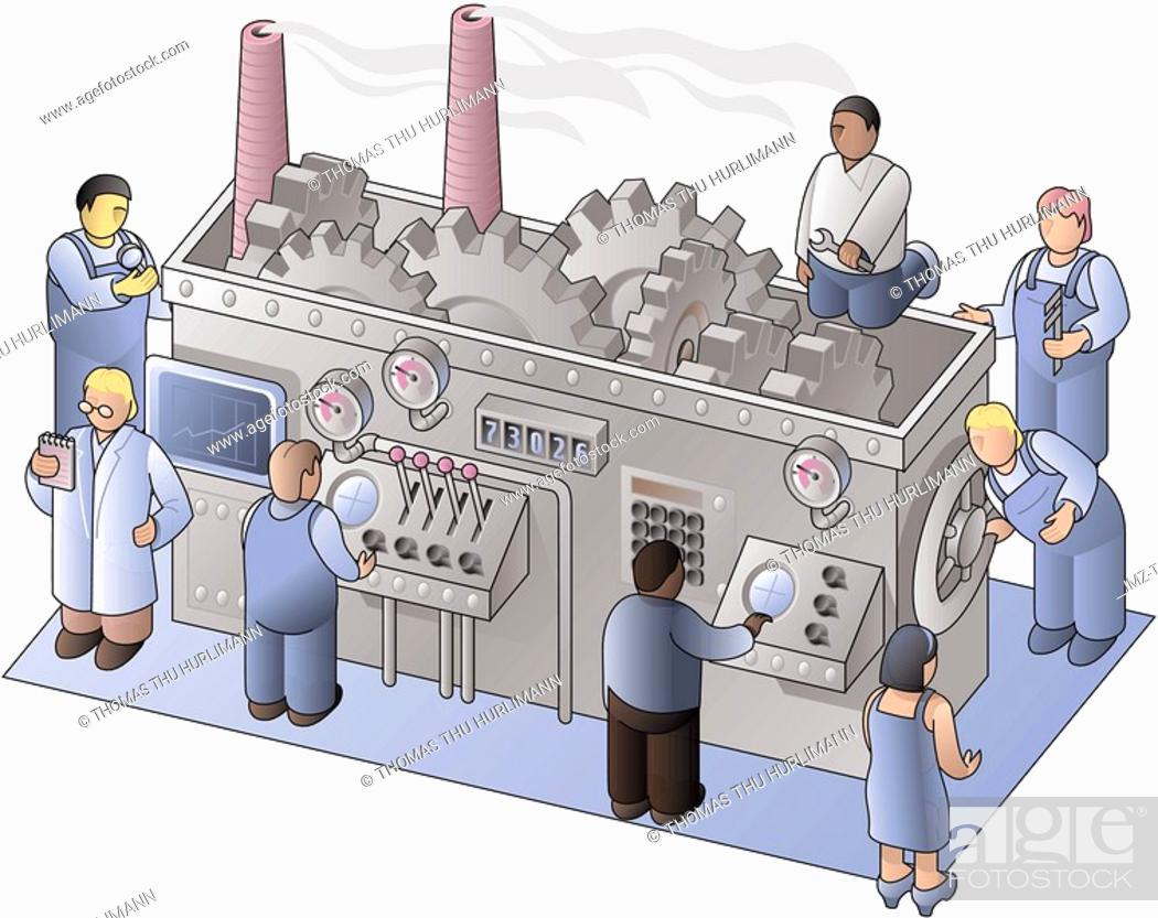 Stock Photo: Mechanics examining and fixing a machine in a factory.