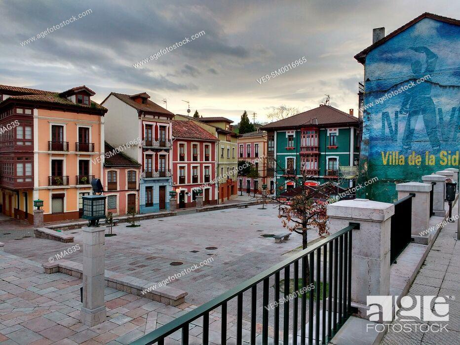 Stock Photo: Manuel Uría square, Nava, Asturias, Spain.