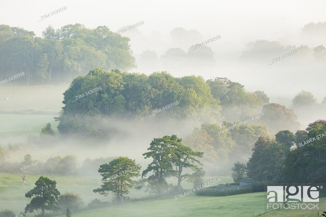 Stock Photo: Sunrise in South Downs National Park near Worthing, West Sussex, England.
