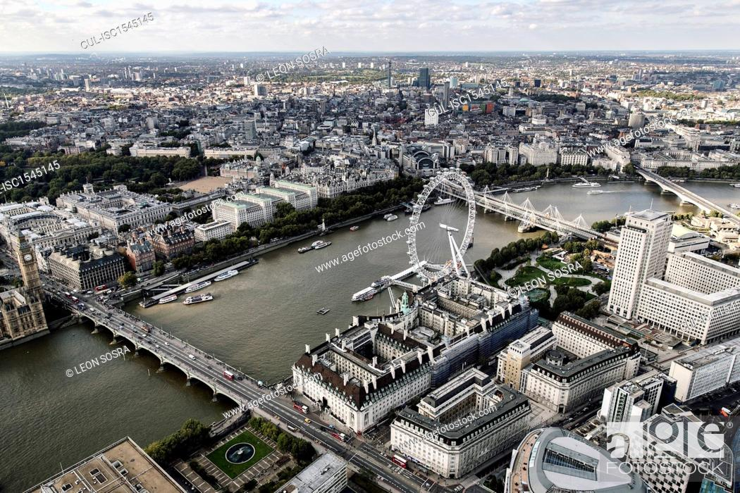 Stock Photo: Aerial view of the London Eye, London Bridge and River Thames in London.