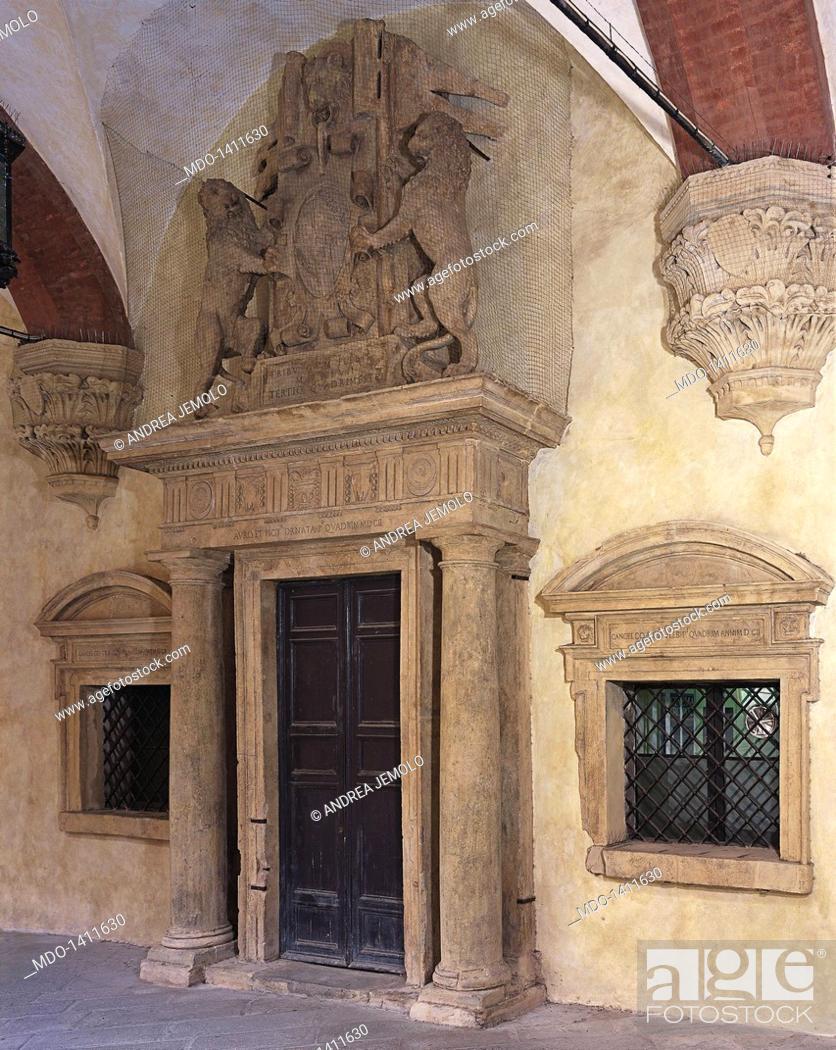 Stock Photo: Door of the Tribunes (Porta dei Tribuni della Plebe), by Barozzi Jacopo known as Vignola, 1548, 16th Century, 3 x 7 m circa.