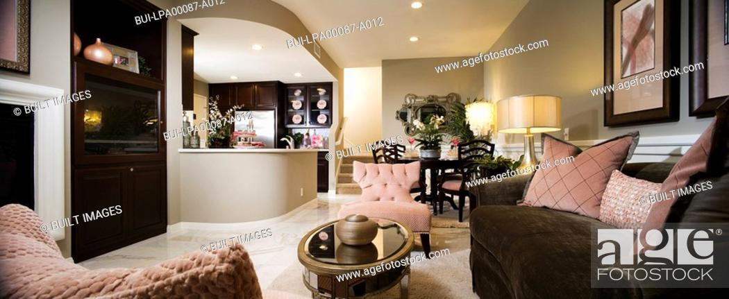 Stock Photo: Glamorous Living Room in Brown and Pink.