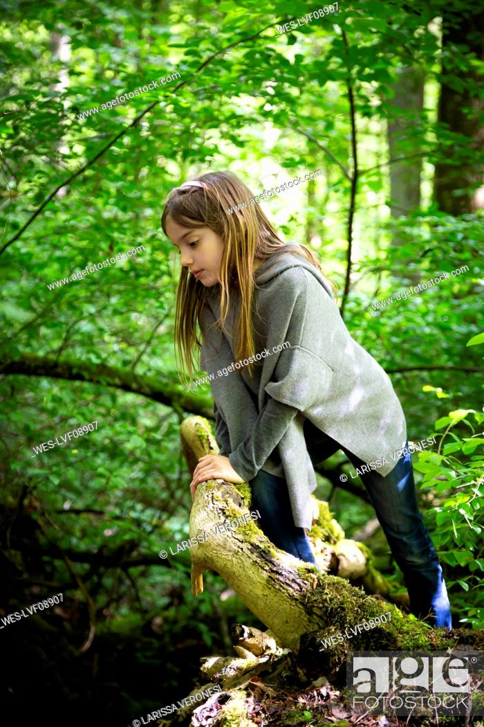 Photo de stock: Cute girl climbing on tree in forest.